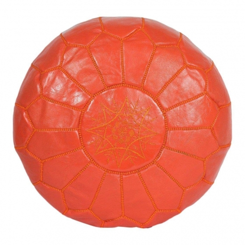 Tangerine Leather Moroccan Pouf