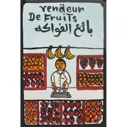 moroccan tin painting - vendeur de fruits