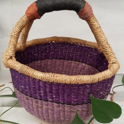Bolga Basket Mini Round – Shades of Violet