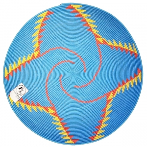 blue red and yellow berber platter