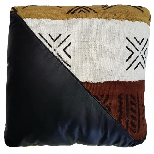 Mudcloth/Italian Leather Cushion