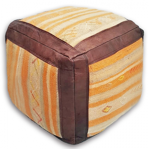 Moroccan Leather/Kilim Ottoman – Brown