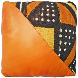 Mudcloth/Italian Leather Cushion