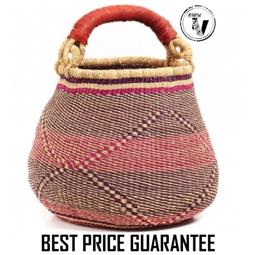 Bolga Basket Pot - Shades of Violet