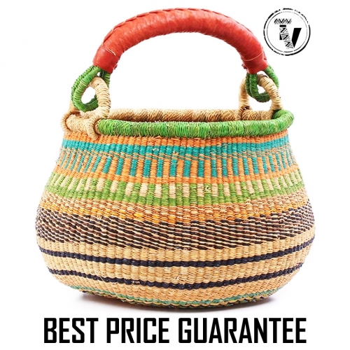 bolga pot basket bright tones