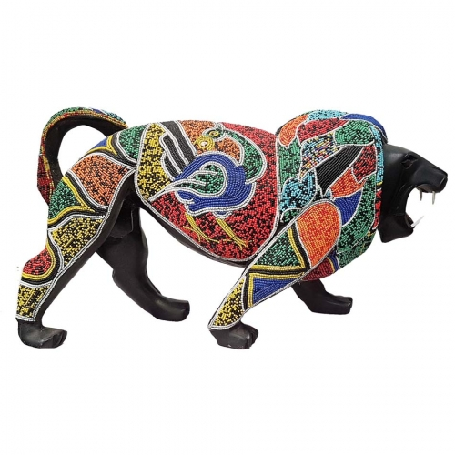 African Beaded Wooden Lion