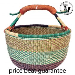 Bolga Basket Round Woven - Very handy overall basket great for use as a market, storage, gift hamper or craft basket. This is a one off basket sold individually. Our baskets measure approximately 36cm to 40cm