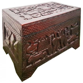 Wooden Hand-Carved Tribal Chest