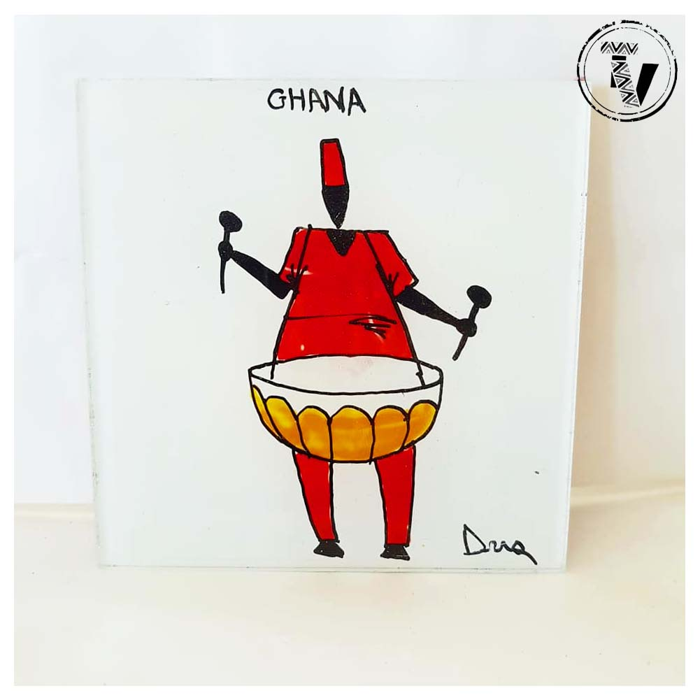 African Hand-painted Glass Coaster
