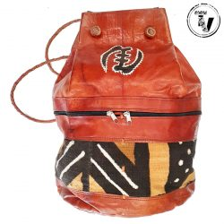 African Leather Mudcloth Backpack