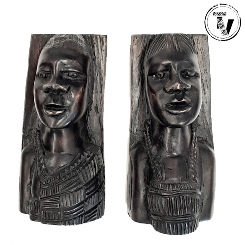 Ebony Wood Tribal Bookends