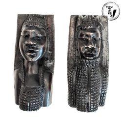 Ebony Wood Tribal Bookends
