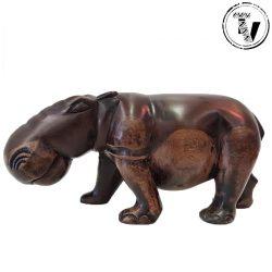 Ebony Wood Carved Hippo