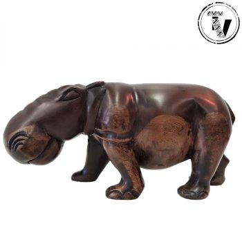 Ebony Wood Carved Hippo