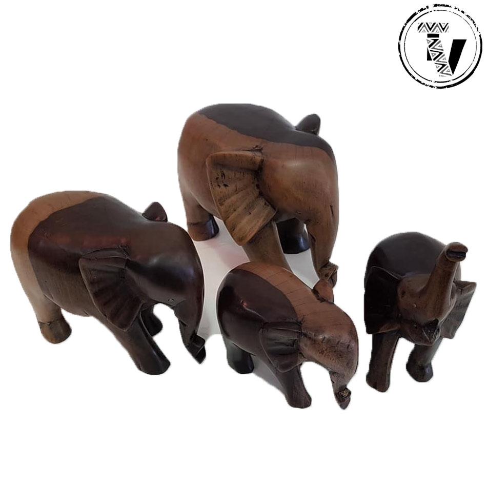 Ebony Wood Carved Elephants