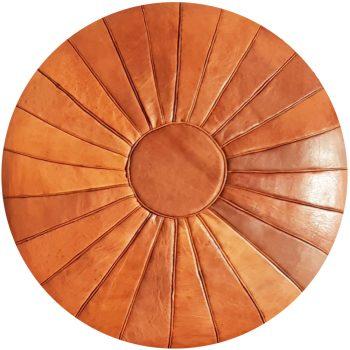 Tan Leather Moroccan Pouf