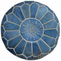 Sky Blue Leather Moroccan Pouf