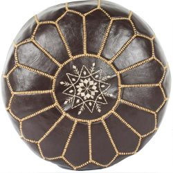 Brown/Chocolate Leather Moroccan Pouf