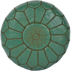 Mint/Chocolate Leather Moroccan Pouf