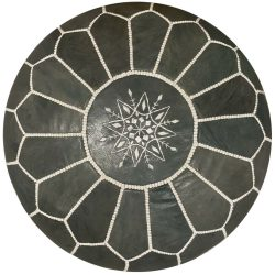 Charcoal Leather Moroccan Pouf