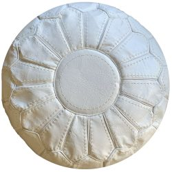 Leather Stitched White Pouf